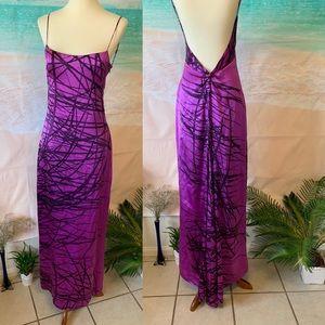 BCBG 100% Silk Backless Gown Evening Dress
